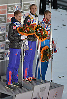 INNSBRUCK,AUSTRIA,04.JAN.17 - NORDIC SKIING, SKI JUMPING - FIS World Cup, Four Hills Tournament, large hill. Image shows Robert Johansson (NOR), Daniel Andre Tande (NOR) and Evgeniy Klimov (RUS).<br /> <br /> Norway only