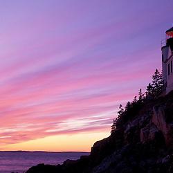 Bass Harbor, ME. Bass Harbor Head Light. Sunset.  Mt. Desert Island.  Lighthouses.  Acadia National Park.