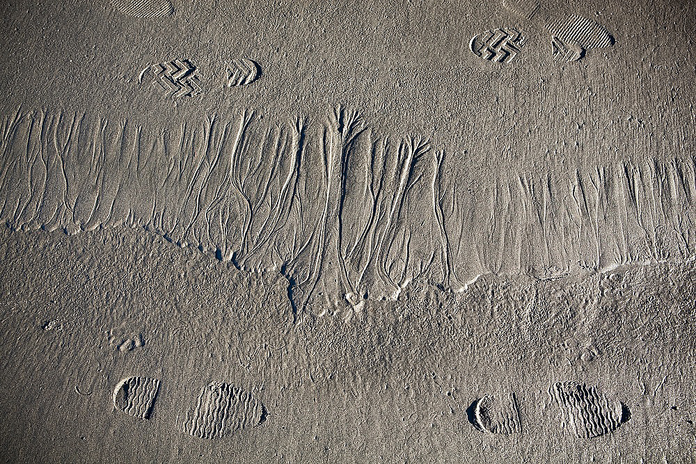 Tourist shoe prints besides intricate erosional patterns in the sand at Kalaloch Beach, Olympic National Park, Washington.