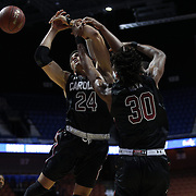 Chris Silva, (right), and Michael Carrera, (left), South Carolina, rebound during the St. John's vs South Carolina Men's College Basketball game in the Hall of Fame Shootout Tournament at Mohegan Sun Arena, Uncasville, Connecticut, USA. 22nd December 2015. Photo Tim Clayton