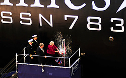 NEWPORT NEWS, Va. (Oct. 27, 2012) Ellen Roughead, wife of former Chief of Naval Operations (CNO) Adm. Gary Roughead and sponsor of the Virginia-class attack submarine Pre-Commissioning Unit (PCU) Minnesota (SSN 783), breaks a bottle to christen the boat. Minnesota is the tenth Virginia-class submarine and the third U.S. Navy ship to bear the name of the 32nd state. America's Sailors are Warfighters, a fast and flexible force deployed worldwide. Join the conversation on social media using #warfighting. (U.S. Navy photo by Mass Communication Specialist 3rd Class Billy Ho/Released) 121027-N-QL471-262 <br /> Join the conversation<br /> http://www.facebook.com/USNavy<br /> http://www.twitter.com/USNavy<br /> http://navylive.dodlive.mil