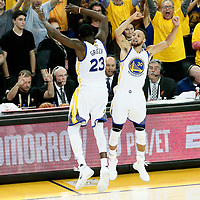 12 June 2017: Golden State Warriors guard Stephen Curry (30) celebrates with Golden State Warriors forward Draymond Green (23) during the Golden State Warriors 129-120 victory over the Cleveland Cavaliers, in game 5 of the 2017 NBA Finals, at the Oracle Arena, Oakland, California, USA.