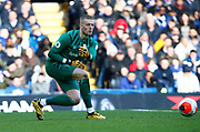 Everton's Jordan Pickford in action during an English Premier League soccer match between Chelsea and Everton at Stamford Bridge stadium, Sunday, March 8, 2020, in London, United Kingdom. Chelsea defeated Everton 4-0. (Mitchell Gunn-ESPA Images/Image of Sport via AP)