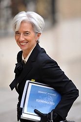 File Photo - French Minister for the Economy, Finance and Industry Christine Lagarde arrives at Elysee Palace in Paris, France on February 18 2011 before a speech of French President in front of G20 finance Ministers and Central Bank Governors during the G20 meeting. The European Council announced Tuesday that Lagarde, the current head of the International Monetary Fund, had been chosen to succeed Mario Draghi as president of the European Central Bank,, whose eight-year term ends in October. Photo by Thierry Orban/ABACAPRESS.COM