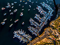 Aerial view of crowded marina in Ilulissat,  Greenland