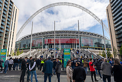 © Licensed to London News Pictures. 15/05/2021. London, UK. Up to 20,000 football fans arrive at Wembley Stadium to attend the Emirates FA Cup Final between Chelsea football club and Leicester City football club  in London, United Kingdom on May, 15, 2021. All attendees have to show evidence of a negative Covid-19 test to attend the event as part of the Events Research Programme (ERP) pilot scheme informing the government's decision on step 4 of its roadmap out of lockdown. Photo credit: Ray Tang/LNP