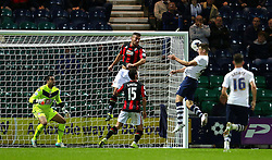 Jordan Hugill of Preston North End scores the equalising goal to make it 1-1- Mandatory byline: Matt McNulty/JMP - 07966386802 - 22/09/2015 - FOOTBALL - Deepdale Stadium -Preston,England - Preston North End v Bournemouth - Capital One Cup - Third Round