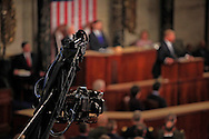 A video camera pans over the floor of  the House of Representatives as President Donald Trump gives a speech to a joint session of Congress on February 28, 2017<br /> <br /> Photo by Dennis Brack
