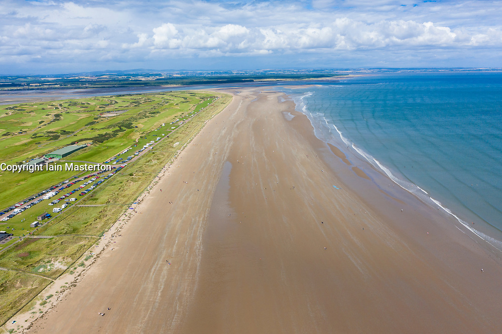 Aerial view of west beach at St Andrews on Fife coast in Scotland, UK