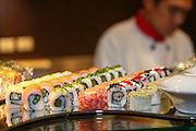 Asian Restaurant Chef prepares sushi