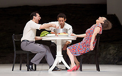 Tanztheater Wuppertal Pina Bausch <br /> 'Masurca Fogo' <br /> at Sadler's Wells, London, Great Britain <br /> rehearsals<br /> 8th February 2017 <br /> <br /> Tanztheater Wuppertal Pina Bausch: Masurca Fogo<br /> Daphnis Kokkinos, Jonathan Fredrickson, Nazareth Panadero<br /> Masurca Fogo, created by the endlessly inventive Pina Bausch, returns to Sadler's Wells from 9 - 12 February 2017. The piece is performed by the legendary Tanztheater Wuppertal Pina Bausch, a Sadler's Wells International Associate Company.<br /> <br /> <br /> <br /> <br /> Performers:<br /> Regina Advento, Pablo Aran Gimeno, Emma Barrowman, Rainer Behr, Andrey Berezin, Michael Carter, Çağdaş Ermis, Silvia Farias Heredia, Jonathan Fredrickson, Ditta Miranda Jasjfi, Daphnis Kokkinos, Cristiana Morganti, Breanna O'Mara, Nazareth Panadero, Julie Shanahan, Oleg Stepanov, Julian Stierle, Fernando Suels Mendoza, Aida Vainieri, Ophelia Young.<br /> <br /> Photograph by Elliott Franks <br /> Image licensed to Elliott Franks Photography Services