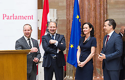 28.04.2016, Parlament, Wien, AUT, Parlament, Nationalratssitzung, Besuch des UNO-Generalsekretärs im Nationalrat, im Bild v.l.n.r. Klubobmann NEOS Matthias Strolz, Klubobmann SPÖ Andreas Schieder, Grüne Klubobfrau Eva Glawischnig und Klubobmann Team Stronach Robert Lugar // f.l.t.r. Leader of the Parliamentary Group NEOS Matthias Strolz, Leader of the Parliamentary Group SPOe Andreas Schieder, Leader of the parliamentary group the greens Eva Glawischnig and Leader of the parliamentary group TS Robert Lugar during visit of the secretary general of the united nations at the meeting of the National Council of austria at austrian parliament in Vienna, Austria on 2016/04/28, EXPA Pictures © 2016, PhotoCredit: EXPA/ Michael Gruber