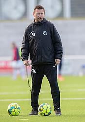 Assistenttræner Christian Flint Bjerg (Skive IK) under kampen i 1. Division mellem FC Helsingør og Skive IK den 18. oktober 2020 på Helsingør Stadion (Foto: Claus Birch).