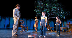 To Kill a Mockingbird <br /> by Harper Lee <br /> at The Barbican Theatre, London, Great Britain <br /> rehearsal <br /> 25th June 2015 <br /> <br /> Ava Potter as Scout <br /> <br /> Robert Sean Leonard as Atticus Finch<br /> <br /> Tommy Rodger as Jem<br /> <br /> Photograph by Elliott Franks <br /> Image licensed to Elliott Franks Photography Services