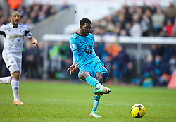 19.01.2014, Liberty Stadion, Swansea, ENG, Premier League, Swansea City vs Tottenham Hotspur, 22. Runde, im Bild Tottenham Hotspur's Emmanuel Adebayor scores the third goal against Swansea City // during the English Premier League 22th round match between Swansea City AFC and Tottenham Hotspur at the Liberty Stadion in Swansea, Great Britain on 2014/01/19. EXPA Pictures © 2014, PhotoCredit: EXPA/ Propagandaphoto/ David Rawcliffe<br /> <br /> *****ATTENTION - OUT of ENG, GBR*****