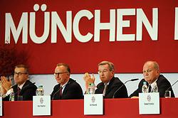 13.11.2013, Audi Dome, Muenchen, GER, 1. FBL, Jahreshauptversammlung FC Bayern Muenchen, im Bild Das Praesidium des FC Bayern Muenchen <br /> vl Jan-Christian Dreesen (Finanzvorstand FC Bayern Muenchen), Vorstandsvorsitzender Karl-Heinz Rummenigge (FC Bayern Muenchen), Karl Hopfner (Ehrenamtlicher Vize-Praesident), Praesident Uli Hoeness (FC Bayern Muenchen) // during the annual General Meeting of 2013 at the Audi Dome in Muenchen, Germany on 2013/11/13. EXPA Pictures © 2013, PhotoCredit: EXPA/ Eibner-Pressefoto/ Stuetzle<br /> <br /> *****ATTENTION - OUT of GER*****