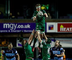 Eoin McKeon of Connacht claims the lineout<br /> <br /> Photographer Simon King/Replay Images<br /> <br /> Guinness PRO14 Round 14 - Cardiff Blues v Connacht - Saturday 26th January 2019 - Cardiff Arms Park - Cardiff<br /> <br /> World Copyright © Replay Images . All rights reserved. info@replayimages.co.uk - http://replayimages.co.uk