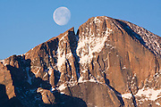 Moon over Longs Peak, Rocky Mountain National Park, Colorado.