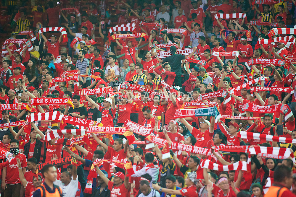 KUALA LUMPUR, MALAYSIA - Friday, July 24, 2015: Liverpool supporters during a friendly match against Malaysia XI at the Bukit Jalil National Stadium on day twelve of the club's preseason tour. (Pic by David Rawcliffe/Propaganda)