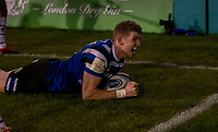 Bath Rugby's Ruaridh McConnochie celebrates scoring his sides third try<br /> <br /> Photographer Bob Bradford/CameraSport<br /> <br /> Gallagher Premiership Round 11 - Bath Rugby v Leicester Tigers - Sunday 30th December 2018 - The Recreation Ground - Bath<br /> <br /> World Copyright © 2018 CameraSport. All rights reserved. 43 Linden Ave. Countesthorpe. Leicester. England. LE8 5PG - Tel: +44 (0) 116 277 4147 - admin@camerasport.com - www.camerasport.com
