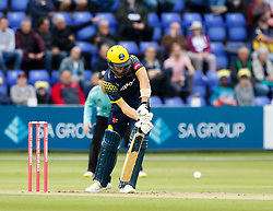 Glamorgan's Craig Meschede blocks<br /> <br /> Photographer Simon King/Replay Images<br /> <br /> Vitality Blast T20 - Round 14 - Glamorgan v Surrey - Friday 17th August 2018 - Sophia Gardens - Cardiff<br /> <br /> World Copyright © Replay Images . All rights reserved. info@replayimages.co.uk - http://replayimages.co.uk