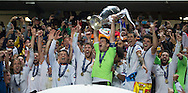 Portugal, Lisbon : Real Madrid's goalkeeper Iker Casillas (L) and teammates celebrate their victory at the end of the UEFA Champions League Final Real Madrid vs Atletico de Madrid at Luz stadium in Lisbon, on May 24, 2014. Real Madrid won 4-1. <br /> PHOTO:GREGÓRIO CUNHA