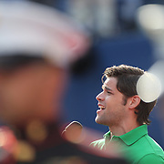 """Tony and Grammy nominated singer Jeremy Jordan sings  """"America the Beautiful"""" as the American flag is unveiled by the United States Marine Corps before the Men's Singles Final between Rafael Nadal, Spain, and Novak Djokovic, Serbia, at the US Open, Flushing. New York, USA. 9th September 2013. Photo Tim Clayton"""