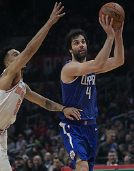 March 2, 2018 - Los Angeles, California, U.S - Milos Teodosic #4 of the Los Angeles Clippers seeks to pass the ball during their NBA game with the New York Knicks on Friday March 2, 2018 at the Staples Center in Los Angeles, California. Clippers defeat Knicks, 128-105. (Credit Image: © Prensa Internacional via ZUMA Wire)