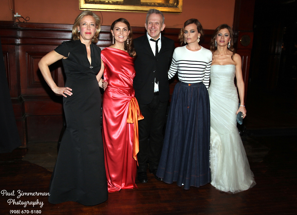 NEW YORK, NY - MARCH 17:  (L-R) Veronica Bulgari, Sabina Schlumberger, Jean Paul Gaultier, Pamela Berkovic, Fadwa Robb attend the Lycee Francais de New York 2012 gala at the Park Avenue Armory on March 17, 2012 in New York City.  (Photo by Paul Zimmerman/WireImage)