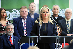 © Licensed to London News Pictures. 6/02/2016. Belfast, Northern Ireland, UK. Sinn Fein's leader in the North of Ireland Michelle O'Neill speaks during the Launch of their Candicates for the forth coming elections in Northern Ireland. The fallout from the RHI scandal surrounding the scheme, which is approximately £490m over budget, resulted in the resignation of Sinn Fein's deputy first minister, Martin McGuinness, the collapse of Stormont's institutions and the calling of snap elections on 2 March.  Photo credit : Paul McErlane/LNP
