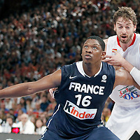 15 July 2012: Pau Gasol of Team Spain vies for the rebound with Kevin Seraphin of Team France during a pre-Olympic exhibition game won 75-70 by Spain over France, at the Palais Omnisports de Paris Bercy, in Paris, France.