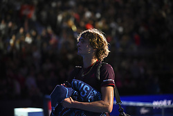 November 14, 2017 - London, England, United Kingdom - Alexander Zverev of Germany delusion after in the singles match against  Roger Federer of Switzerland on day three of the Nitto ATP World Tour Finals at O2 Arena, London on November 14, 2017. (Credit Image: © Alberto Pezzali/NurPhoto via ZUMA Press)