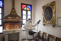 Staff members disinfect Surp Stefanos Armenian Church, on March 15, 2020, in Istanbul, Turkey. Turkey on Tuesday, confirmed 6 cases of novel coronavirus infection in the country. Photo by Akin Celiktas/Depo Photos/ABACAPRESS.COM