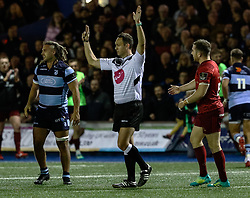 Referee Quinton Immelman awards a penalty<br /> <br /> Photographer Simon King/Replay Images<br /> <br /> Guinness PRO14 Round 4 - Cardiff Blues v Munster - Friday 21st September 2018 - Cardiff Arms Park - Cardiff<br /> <br /> World Copyright © Replay Images . All rights reserved. info@replayimages.co.uk - http://replayimages.co.uk