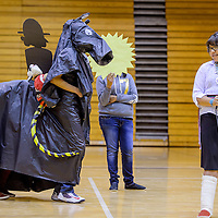 """050715       Cable Hoover<br /> <br /> Crownpoint High School student Wameisha Morgan tells the Navajo tale """" Yellow Eyes"""" as her classmates act it out during the Navajo Language and Culture Fest Thursday at Gallup High School."""