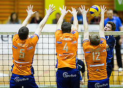 Nathan Roberts of ACH, Jan Kozamernik of ACH and Michal Kozlowski of ACH during volleyball match between ACH Volley   and Salonit Anhovo in Final of Slovenian Cup 2014/15, on January 17, 2015 in Sempeter, Slovenia. Photo by Vid Ponikvar / Sportida