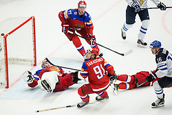 Aleksander Barkov of Finland vs Sergei Bobrovski of Russia, Vladimir Tarasenko of Russia during overtime at Ice Hockey match between Finland and Russia at Day 12 in Group B of 2015 IIHF World Championship, on May 12, 2015 in CEZ Arena, Ostrava, Czech Republic. Photo by Vid Ponikvar / Sportida