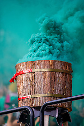 November 4, 2018 - Portland, OR, U.S. - PORTLAND, OR - NOVEMBER 04: Portland Timbers display green smoke for Sebastián Blanco/s goal during the Portland Timbers first leg of the MLS Western Conference Semifinals against the Seattle Sounders on November 04, 2018, at Providence Park in Portland, OR. (Photo by Diego Diaz/Icon Sportswire) (Credit Image: © Diego Diaz/Icon SMI via ZUMA Press)