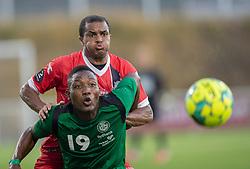 Ramón Rodrigues (FC Helsingør) og Godwin Seglu (Næstved Boldklub) under træningskampen mellem FC Helsingør og Næstved Boldklub den 19. august 2020 på Helsingør Stadion (Foto: Claus Birch).