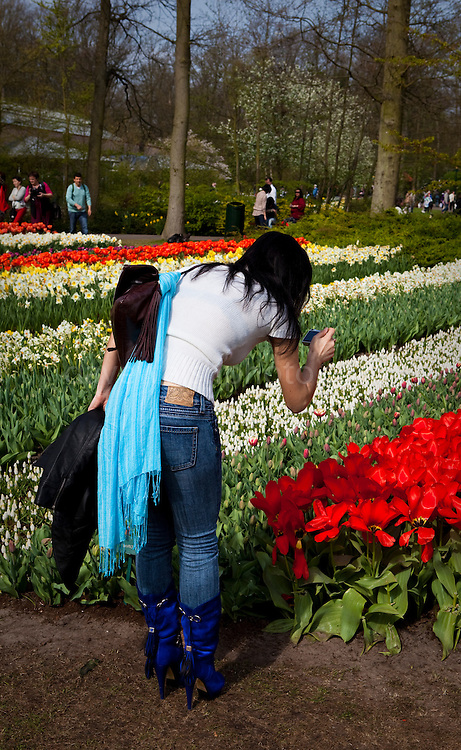 Please ensure you wear proper footwear. Woman photographing flowers at the Keukenhof tulip and flower show in Lisse, Holland - Netherlands Editorial Use only.