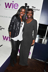 Left to right, JUNE SARPONG and DEE POKU at the annual WIE (Women: inspiration and enterprise) Awards held after the WIE Symposium... A day of inspirational talks by thought leaders and opinion formers to give young women the tools to succeed in business and life held at The Hospital Club, Endell Street, London on 8th March 2012.
