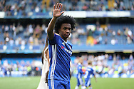 Willian of Chelsea waves to the fans during a walk around the pitch after full time. Barclays Premier league match, Chelsea v Leicester city at Stamford Bridge in London on Sunday 15th May 2016.<br /> pic by John Patrick Fletcher, Andrew Orchard sports photography.