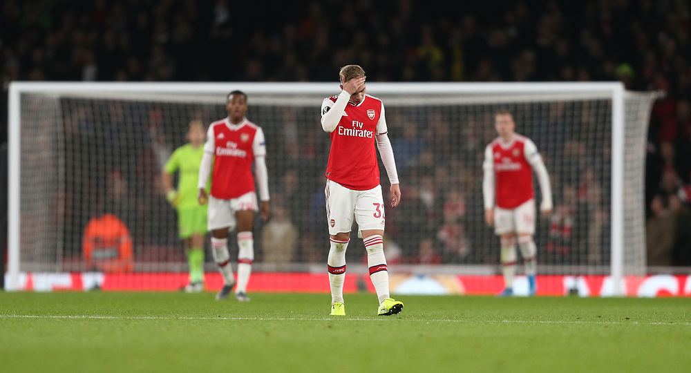 Dejection for Arsenal's Emile Smith Rowe<br /> <br /> Photographer Rob Newell/CameraSport<br /> <br /> UEFA Europa League group F - Arsenal v Vitoria Guimaraes - Thursday 24th October 2019  - Emirates Stadium - London<br />  <br /> World Copyright © 2018 CameraSport. All rights reserved. 43 Linden Ave. Countesthorpe. Leicester. England. LE8 5PG - Tel: +44 (0) 116 277 4147 - admin@camerasport.com - www.camerasport.com