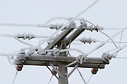 Ice encrusted power lines after an ice storm in Portland, Oregon.