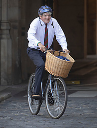 © Licensed to London News Pictures. 14/09/2020. London, UK. Conservative MP Andrew Mitchell cycles in New Palace Yard inside Parliament. Photo credit: Peter Macdiarmid/LNP