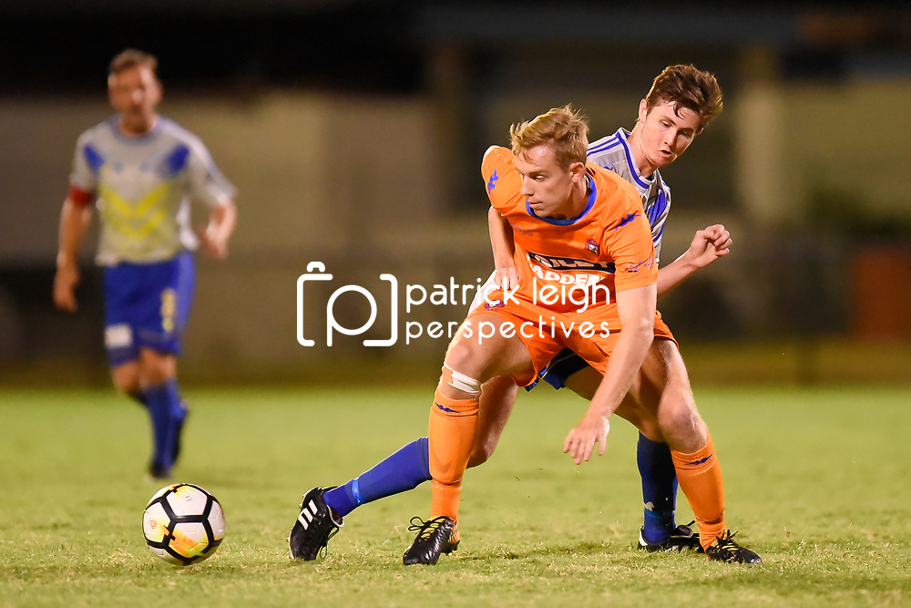 BRISBANE, AUSTRALIA - JANUARY 27: Tommy Jarrard of Lions in action during the Kappa Silver Boot Grand Final match between Lions FC and Brisbane Strikers on January 27, 2018 in Brisbane, Australia. (Photo by Patrick Kearney)