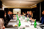 Queen Maxima of The Netherlands during meetings with Indonesian officials in the Kempinsky Hotel in Jakarta, Indonesia, 9 March 2020. Queen Maxima speaks with the official in her capacity as United Nations Secretary General's Special Advocate for Inclusive Finance for Development. Photo: Robin Utrecht