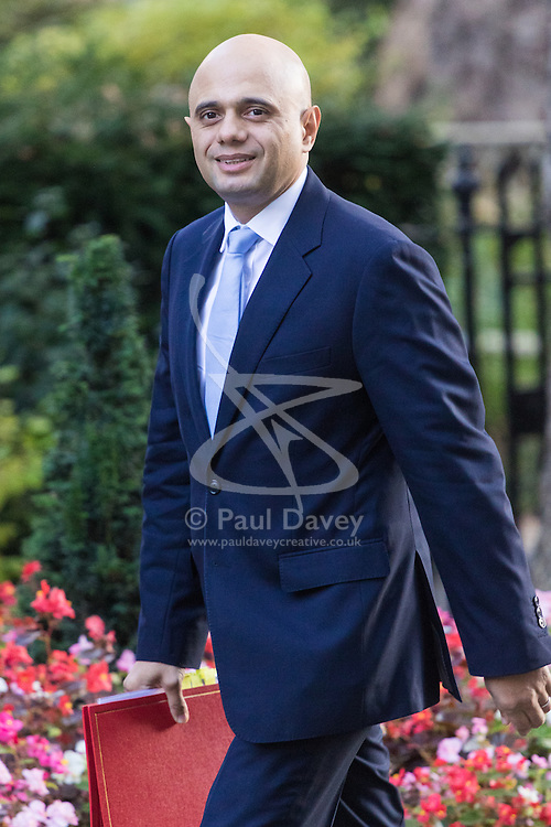 Downing Street, London, October 11th 2016. Government ministers arrive for the first post-conference cabinet meeting. PICTURED: Communities and Local Government Secretary Sajid Javid