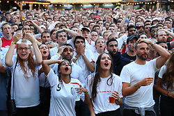 **2018 Pictures of the year by London News Pictures**<br /> © Licensed to London News Pictures. 11/07/2018. London, UK. England fans in Flat Iron Square, London, react as they watch England play Croatia in the World Cup semi-final. Photo credit: Rob Pinney/LNP