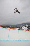 Ayuma Hirano, Japan, during the mens Snowboard Halfpipe Finals of the Pyeongchang Winter Olympics on 14th February 2018 in South Korea